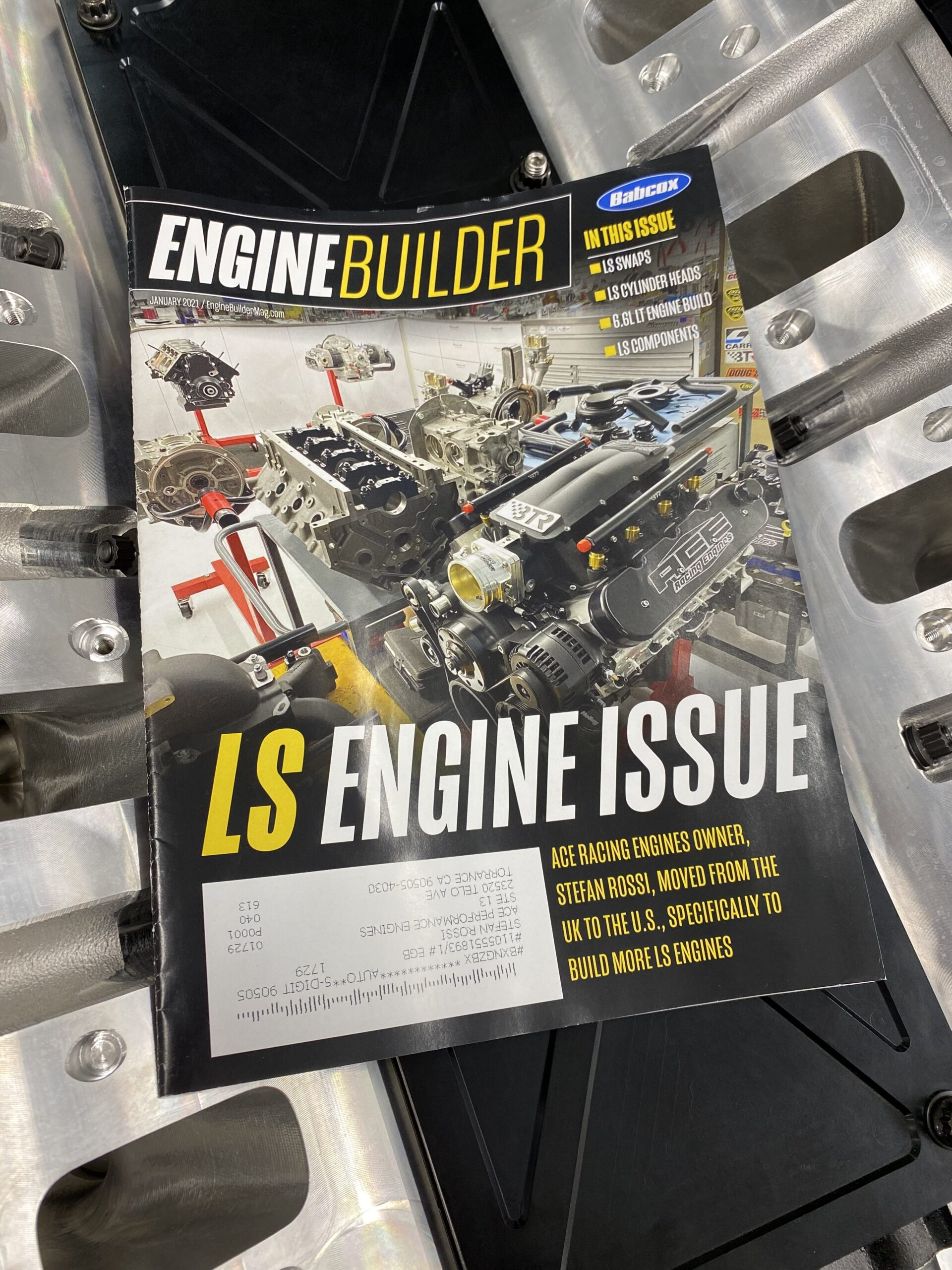 Engine Builder Magazine front cover ACE Racing Engines